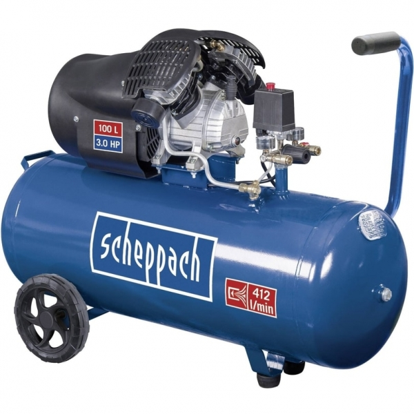 Compresor cu doi cilindrii HC100DC Scheppach SCH5906120901 2200 W 100 L 8 bari