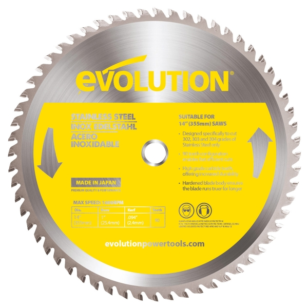 Disc pentru fierastrau circular taiere inox Evolution EVO90BLADE 0521 O355 x 25.4 mm 90 dinti