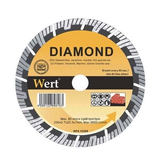 Disc diamantat turbo taiere beton zidarie piatra Wert W2713 115 O115x22.2 mm