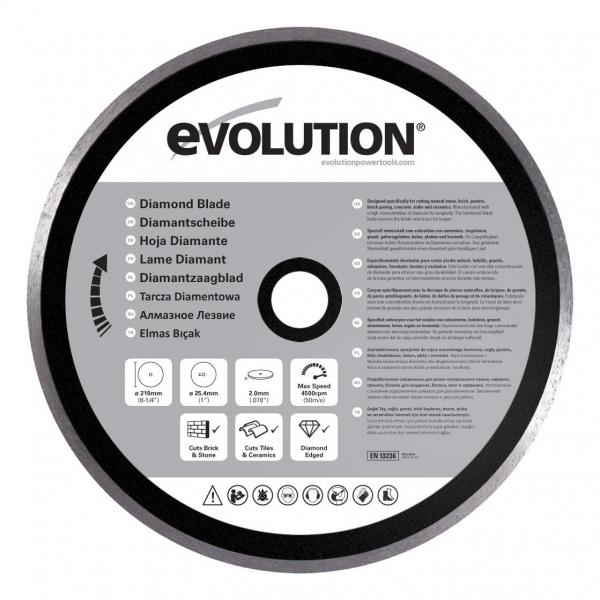 Disc pentru fierastrau circular taiere marmura piatra Evolution EVORAGEBLADE210D O210x25.4 mm