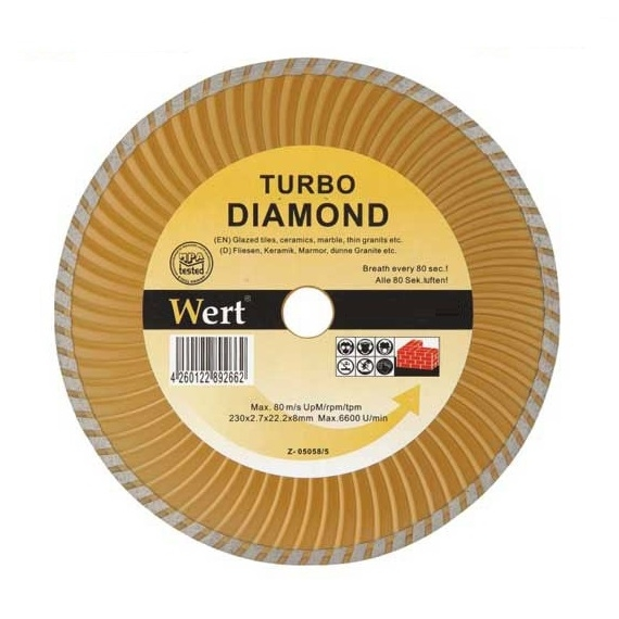 Disc diamantat turbo taiere beton piatra granit Wert W2712 115 O115x22.2 mm