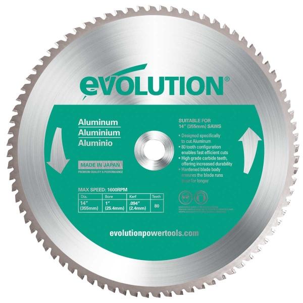 Disc pentru fierastrau circular taiere aluminiu Evolution EVO80TBLADE14 0514 O355 x 25.4 mm 80 dinti