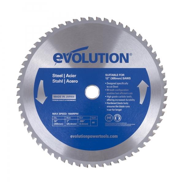 Disc pentru fierastrau circular taiere otel Evolution EVO60TBLADE12 0491 O305 x 25.4 mm 60 dinti