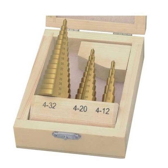 Set burghie conice acoperite cu titan pentru tabla Wert W3500 O4 32 mm 3 piese