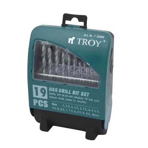 Set burghie HSS pentru metal Troy T35000 O1 10 mm 19 piese