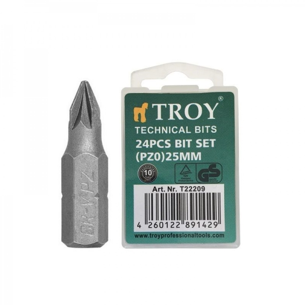 Set de biti in cruce Cr V (PZ0 x 25 mm) 24 piese TROY