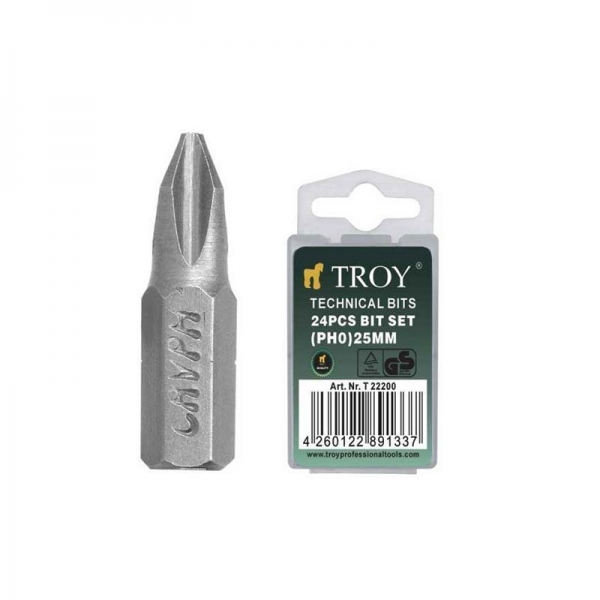 Set de biti (PH0 x 25 mm) 24 piese TROY